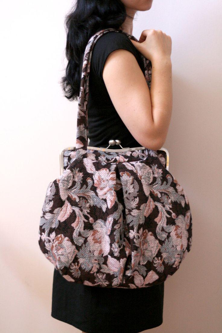 Large shoulder bag - large clutch purse.metal frame bag.vintage print bag.kiss lock handbag. $85.00, via Etsy.