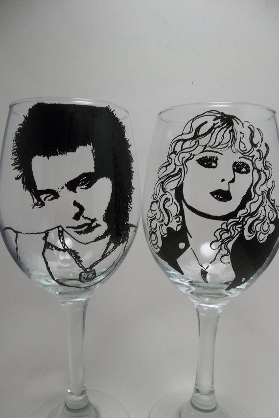 Sex Pistols  Wine Glasses  Punk Rock Hand painted by RealGlassAct, $46.00