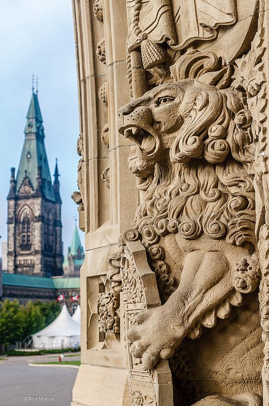 Detail of entranceway of Canada's Parliament Buildings, Ottawa, Canada