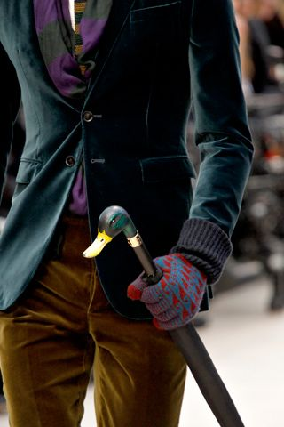 Coloured scarf and gloves, brown cord trousers, turquoise velvet jacket and quirky cane = the best dressed man on Pinterest! (ensemble by Burberry Prorsum)