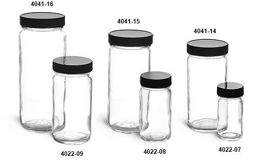 Glass Jars, Clear Glass Paragon Jars w/  Lined Black Ribbed Plastic Caps