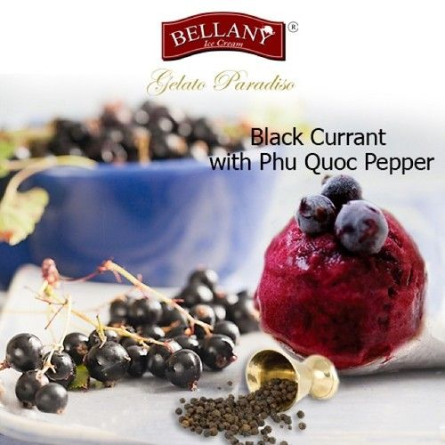 You'd love to explore a new gourmet dessert style? Shouldn't skip our latest flavor: Blackcurrant with Phu Quoc pepper . This creative flavor is a delicate mix between French black currant and Phu Quoc pepper, which strengthen a tangy Blackcurrant taste as well as slight spice of local pepper taste. This sorbet can be served with Dark Chocolate for a perfect dessert! #blackcurrantwithphuquocpepers, #kemlytieu, #bellanyicecream, #sorbet, #kemcaocap, #premiumicecream, #darkchocolate