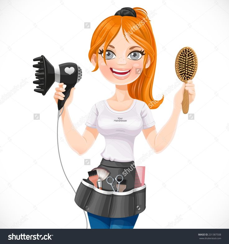 Cute Redhead Girl Hairdresser With Hair Dryer And Hairbrush Isolated On A White Background Stock Vector Illustration 231387508 : Shutterstock