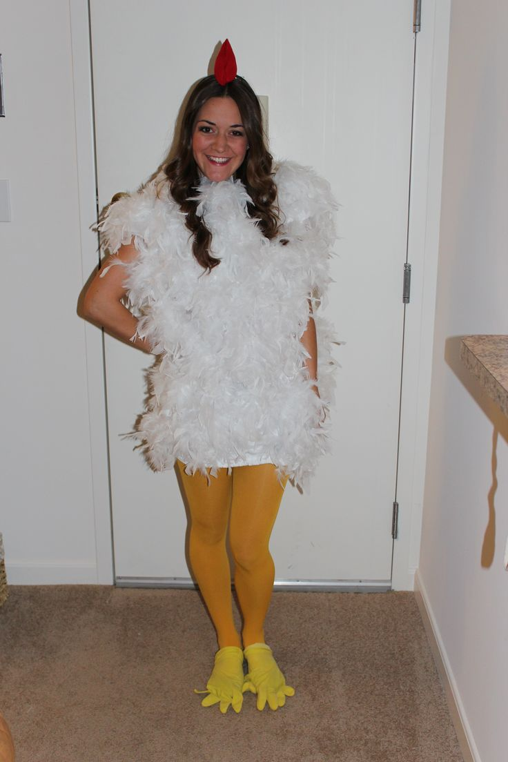 How to Make a Chicken Costume. Dressing up as a chicken is surprisingly fun for babies, kids and adults. You get to wrap yourself in feathers for a day and perfect your chicken dance. Make a chicken costume by putting together a feathered.