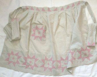 Vintage delantal medio delantal de cocina rosa por VintageLindyLou