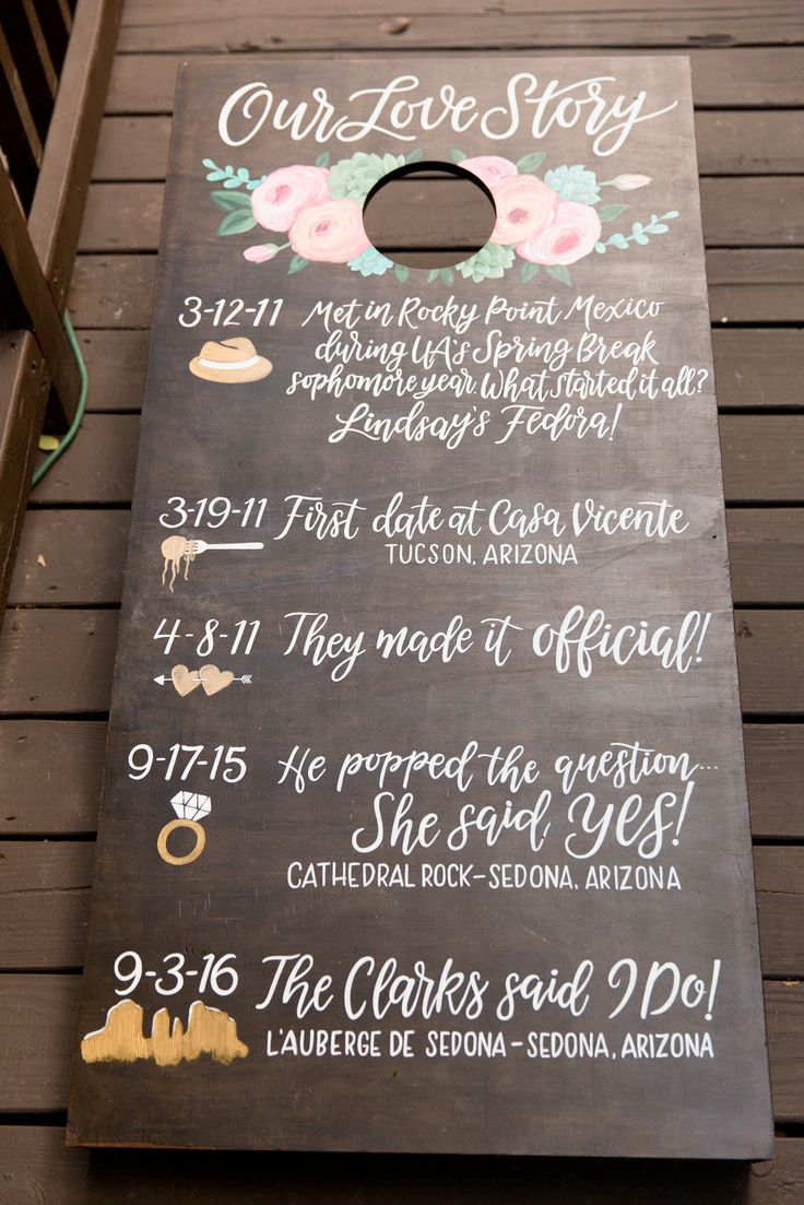 our love story corn hole board