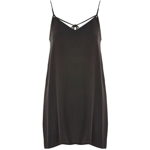 TopShop Rouleau Slip Mini Dress ($55) ❤ liked on Polyvore featuring dresses, topshop, vestidos, black, strappy dress, slip dress, short mini dress, mini slip dress and short dresses