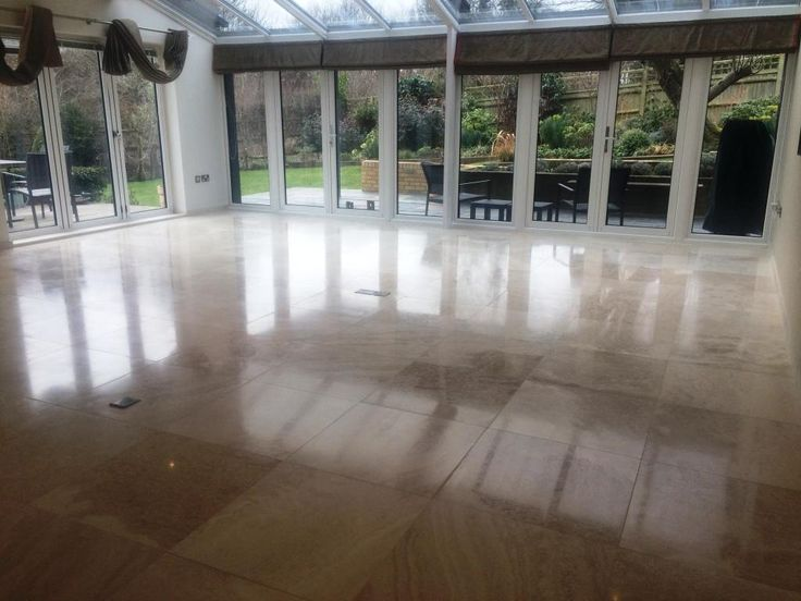 This customer owned a large house in Uckfield, East Grinstead with honed Limestone tiled flooring throughout the whole downstairs, which comprised the living room, dining room and kitchen.  The Limestone floor was in good condition and had been treated to regular professional care, however, the customer wanted the floor to be pristine and I was asked to further refine the appearance of the floor.