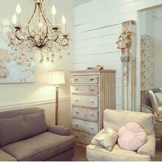 Shabby chic couture living room with barley twist lamp vintage dresser