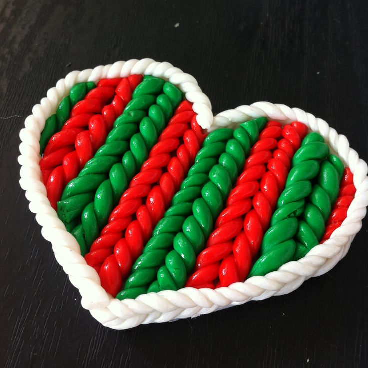 'Braided' heart ornament I made as a Christmas present using polymer clay
