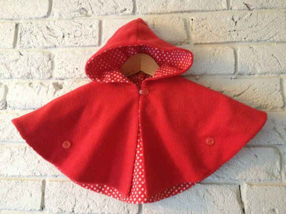 Little Red Cape 4-7y by EttyandBoo on Etsy
