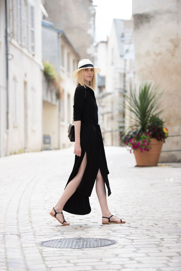 Panama hat + long maxi dress in jersey