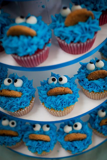 cookie monster #cupcakes #kids #party #birthday