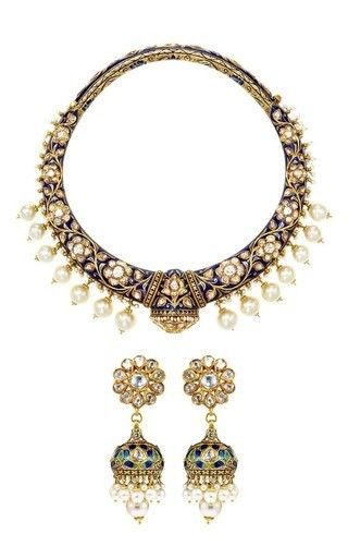Reversible One Of A Kind Diamond, Blue Sapphire And Pearl Earrings And Necklace Set by AMRAPALI for Preorder on Moda Operandi