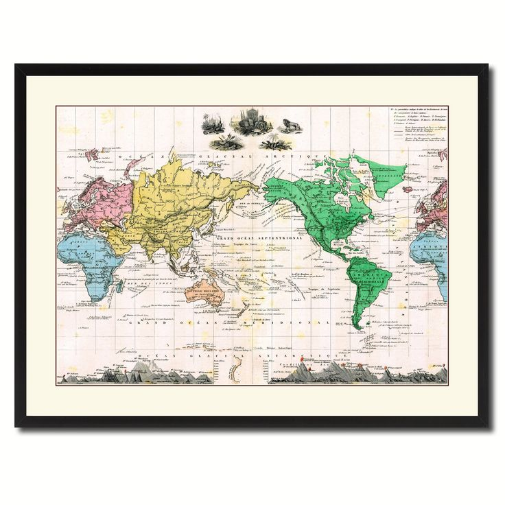 World Vintage Antique Map Wall Art Home Decor Gift Ideas Canvas Print Custom Picture Frame