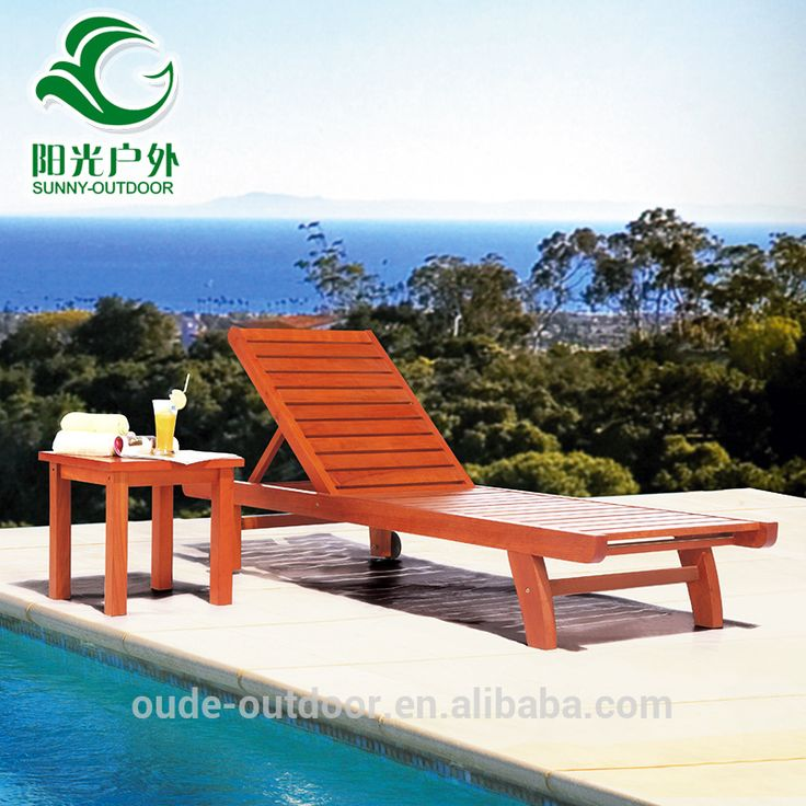 Cheap price swimming pool wooden outdoor furniture beach sun loungers bed
