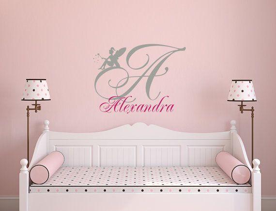 Personalizado etiquetas de la pared de nombre para chicas inicial calcomanías hadas vinilo pegatina dormitorio infantil niños casa habitación decoración ML6