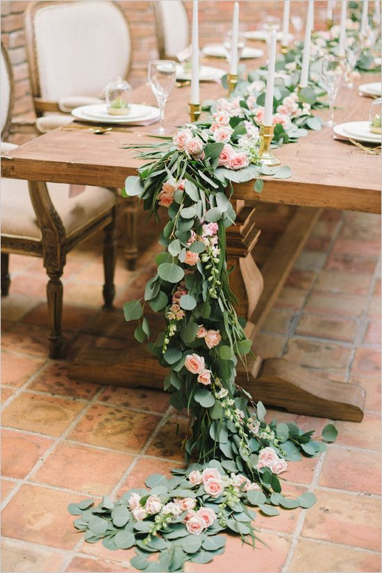 pink rose and eucalyptus table garland @weddingchicks