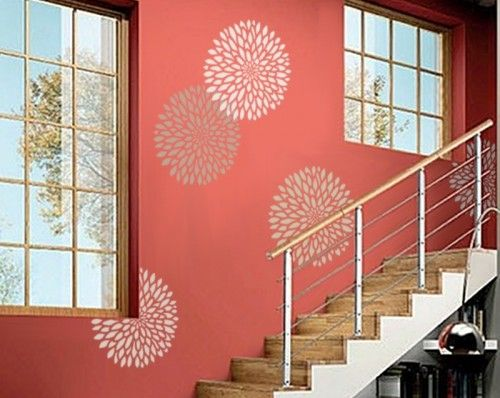 LARGE Chrysanthemum Flower - Wall STENCIL - REUSABLE DIY wall decor   OliveLeafStencils - Furnishings on ArtFire