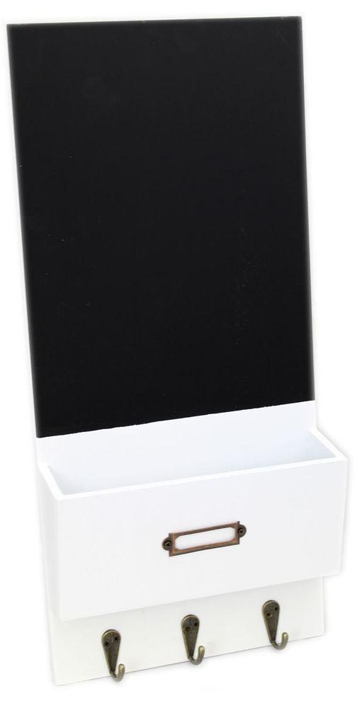 Hanging Wooden Blackboard Organiser Letter Mail Holder With Hooks ~ White #CarouselHome