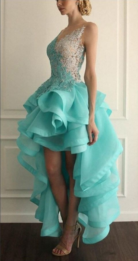 Sexy Hi-Lo White Blue Lace Prom Dresses Organza Ruffles With Appliques