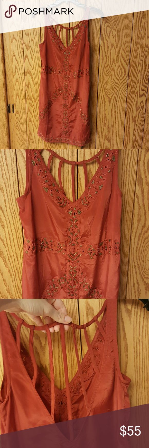 Urban Outfitters burnt orange festival dress Amazing condition with some wear, beads are in good condition from what I can see. Ecote is a Urban Outfitters brand. Urban Outfitters Dresses