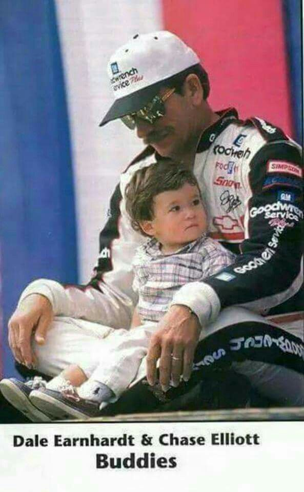 This is Chase Elliott sitting in Dale Earnhardt  Sr's lap. He has the pole for the Daytona 500 this Sunday. Sharing this with all my race fans.