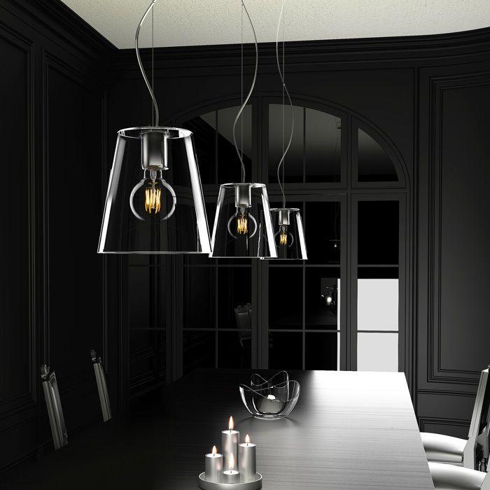 BABU | rendl light studio |  Pendel med glasskärm och en takkåpa i krom. #pendel #lampa #glasskärm
