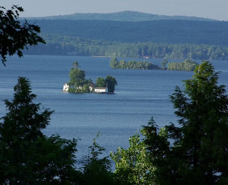 Lake Winnipesaukee New Hampshire -Little Mark Island at the mouth of Alton Bay.