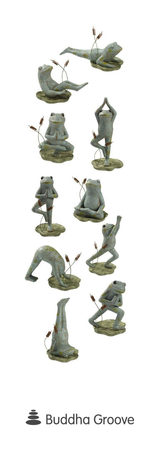 Yoga Frog Statues, Set Of 10 Garden Figurines