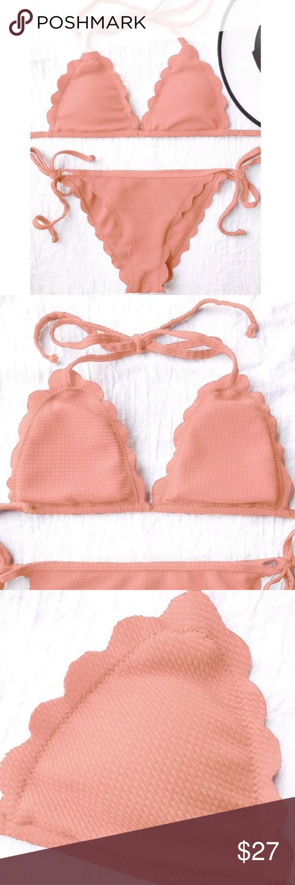 Coral triangle string Bikini Coral string bikini. It is a  bright color between a pink and orange. The top is padded and the bottoms are Cheeky. Please see pictures for sizing information. ✅ ships next business day ❌ trades Swim Bikinis