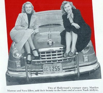 Vera-Ellen and Marilyn Monroe replace George Petty's flying goddess on the hood of this new Nash Airflyte.