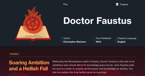 Christopher Marlowe's Doctor Faustus Infographic to help you understand everything about the book. Visually learn all about the characters, themes, and Christopher Marlowe.