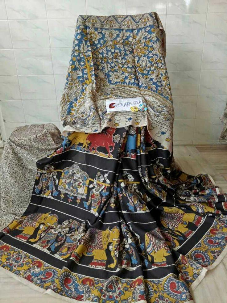 Kalamkari crape silk sarees