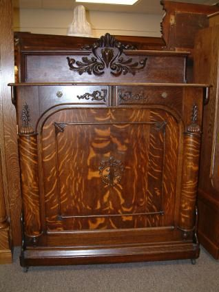 Antique Murphy Bed with Mirror | Oak Folding Bed / Murphy Bed