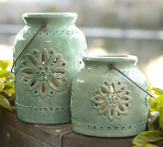 Punched Ceramic Lanterns | Pottery Barn