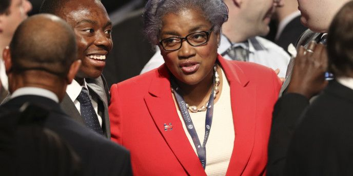 Democratic party chairperson Donna Brazile talks with audience members before the debate between Republican vice-presidential nominee Gov. Mike Pence and Democratic vice-presidential nominee Sen. Tim Kaine at Longwood University in Farmville, Va., Tuesday, Oct. 4, 2016. (Joe Raedle/Pool via AP)