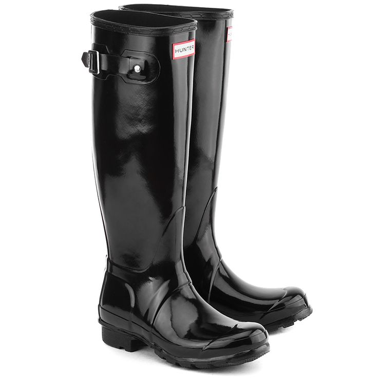 HUNTER Orginal Tall Gloss - Czarne Gumowe Kalosze Damskie #mivo #mivoshoes #shoes #buty #boots #kalosze #hunter #women #black #colors #rain #rainy #new #newcollection #autumn #fall #winter #2015 #2016 #stylish #style #fashion