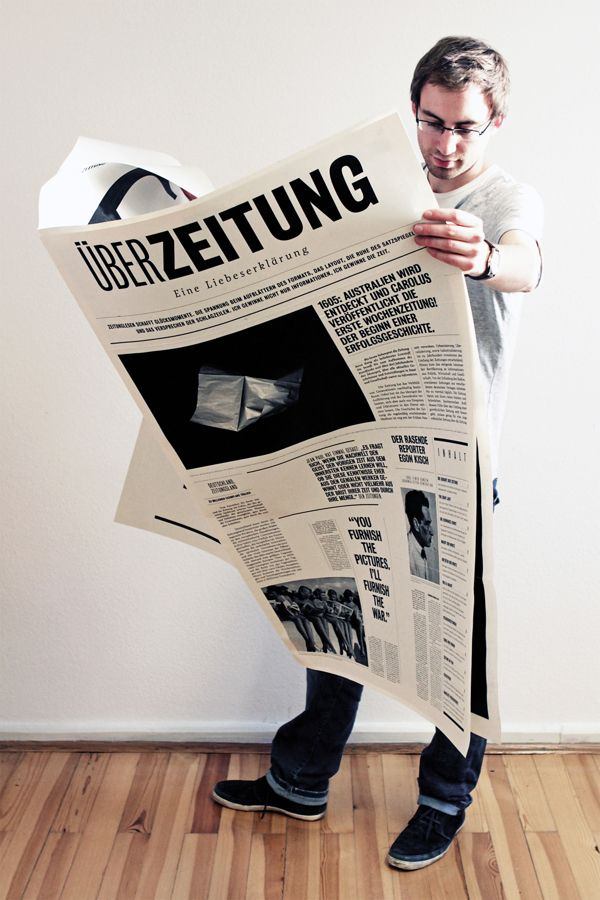 Wolfgang Landauer was tasked to design a special edition of the Überzeitung newspaper. He created this literally huge, almost human-sized, issue that is full of beautiful typography, combined with excellent shots of black & white photography.