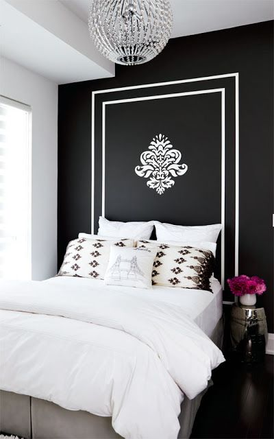 #black And #white #painted #headboard #wall In The #bedroom (