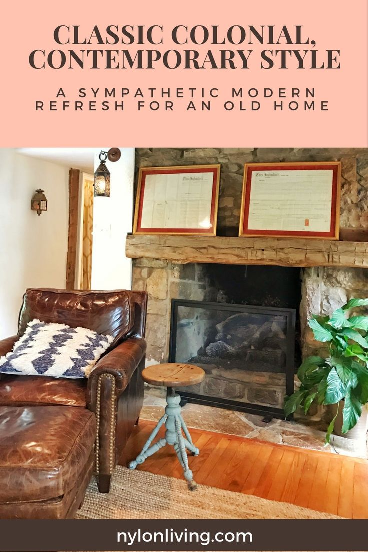 An Old Colonial Home Gets a Sympathetic Modern Refresh | Modern farmhouse living room | American colonial home decor ideas | classic colonial homes