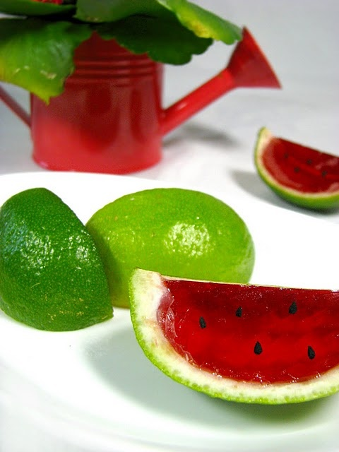 """""""watermelon"""" jello- make it """"adult"""" and would be a great garnish with cocktails"""