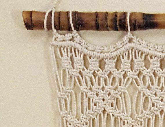 Macramé wall hanging or window curtain: I designed this piece for a custom door window covering, but liked it as a hanging, too.  Add a Boho inspired yet classy design to any wall with this macramé wall hanging. Lovingly handmade by me on our Florida horse farm. From modern to traditional, urban to bohemian, macramé blends with any décor. Ready to ship.  ◘ Size: Bamboo rod : 26 - 29 (pictured, or order without a rod)  Macramé hanging measures 22 wide and 50 at the longest.  I can adjust the…