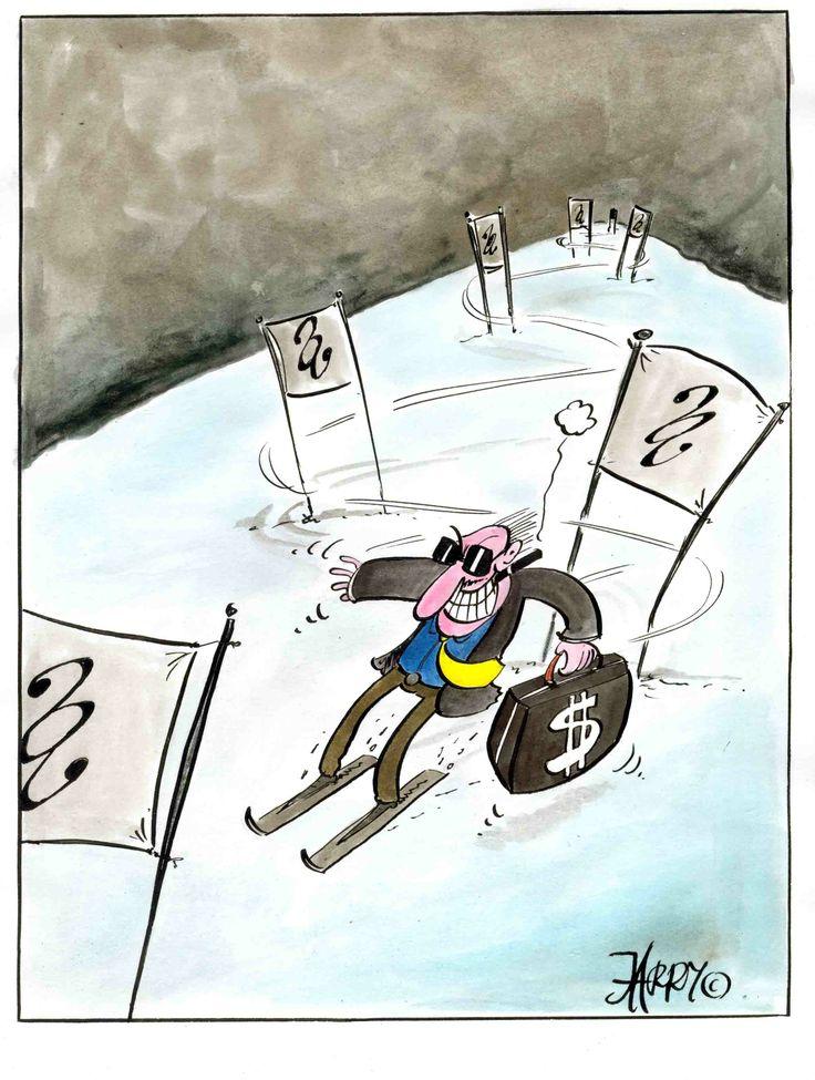 "cartoons of Jarry Jaworski, Poland ""The slalom / Slalom"""