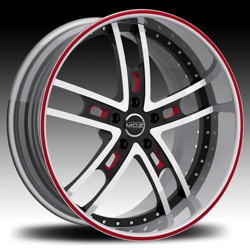 red black 20 rims | MOZ Wheels Rims Bronze 19 20 22 24 inch White Red Detail Face Black ...