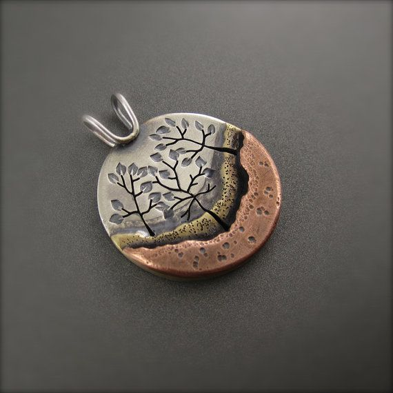 Three Tree Forest Mixed Metal Pendant by BethMillnerJewelry, $315.00