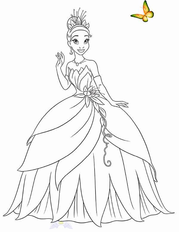 Princess Tiana Waving Hand In Princess And The Frog Coloring Pages Br I 2020