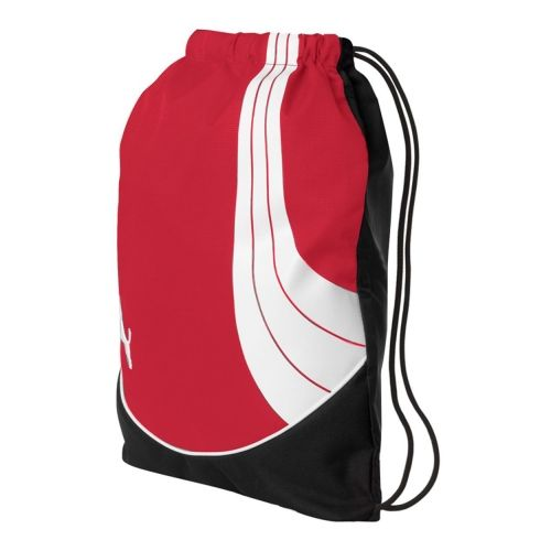 """Teamsport Formation Gym Sack.  400-denier dobby polyester. 600-denier TPE material blocking. Top cinch closure. Wide nylon straps. Structural piping. Raised rubberized sonic weld PUMA® cat logo on front. Size: 18"""" x 14 1/2""""."""