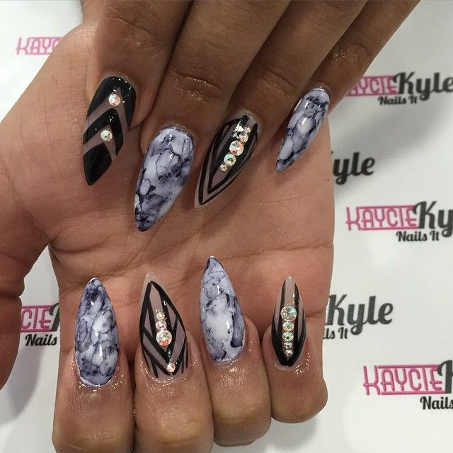 Marble Nail Art Stiletto: Embellishments! On Pinterest