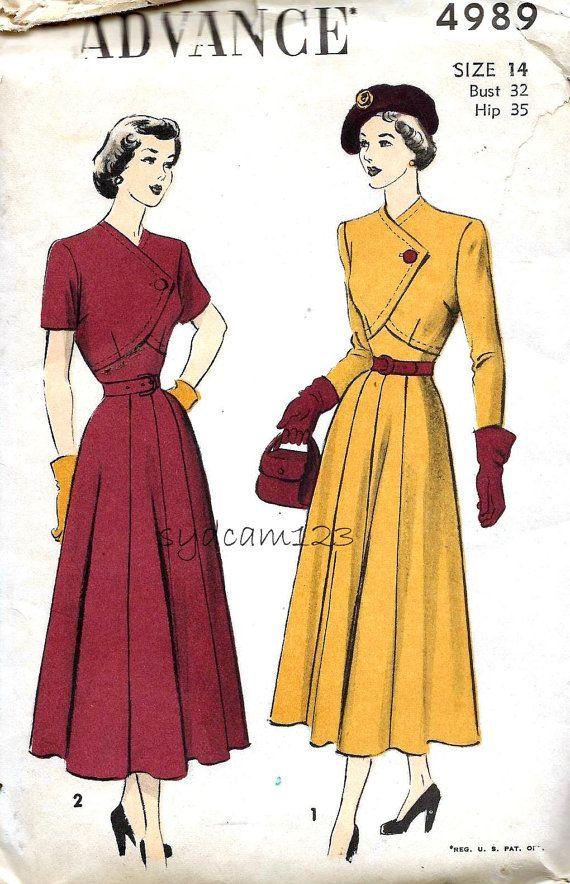 Advance 4989 Vintage 1948 Diagonal Single Button Bodice Dress by sydcam123